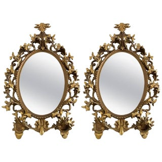 Florentine Monumental Pair Florentine Rococo Style Giltwood and Gesso Mirrors For Sale