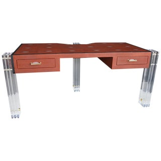 Red Shagreen and Lucite Desk For Sale
