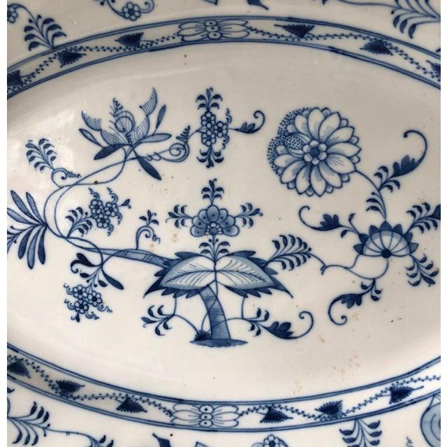 Traditional Antique Ernst Teichert Meissen Blue Onion Serving Platter For Sale - Image 3 of 10