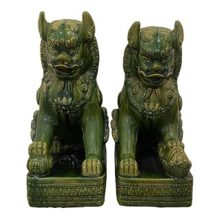 1950s Green Foo Dog Statues - a Pair For Sale