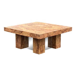 1970s Laminate Wood Burl Mirrored Square Coffee Table For Sale