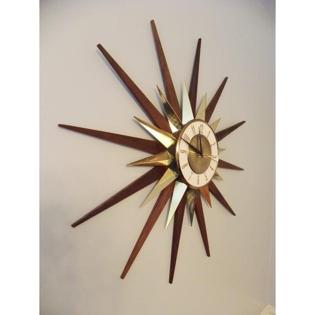 Vintage Elgin Mid Century Star Burst Wall Clock - Image 4 of 8