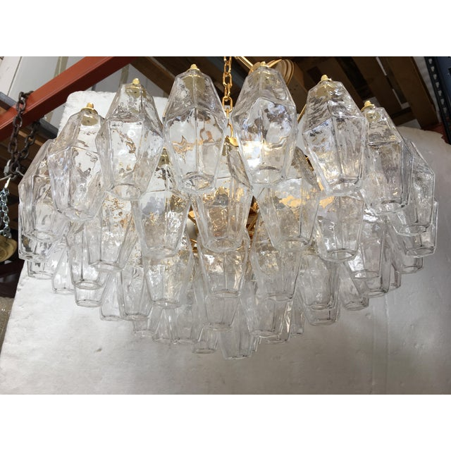 Gold Clear Poliedro Murano Glass with 24K Gold Frame Sputnik Chandelier For Sale - Image 8 of 10
