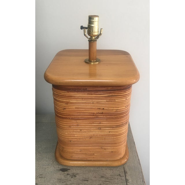 Mid-Century Modern Vintage 1970s Gabriella Crespi Style Pencil Reed Table Lamp For Sale - Image 3 of 12