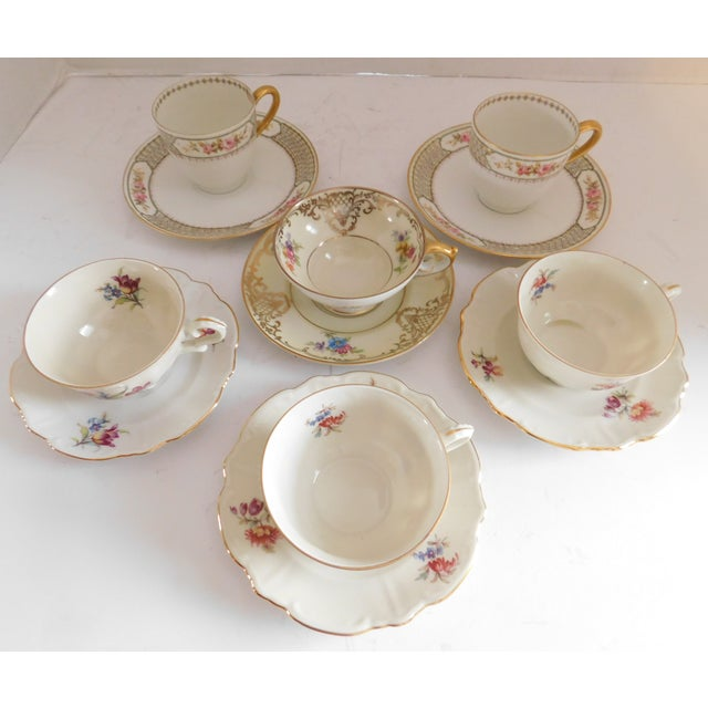Ceramic Antique Porcelain Demi-Tasse Cups & Saucers German and Limoges MIX and Match Sets - Service for 6 For Sale - Image 7 of 13