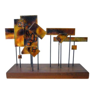 1960s Abstract California Modernist Copper Enamel Sculpture On Walnut Base For Sale
