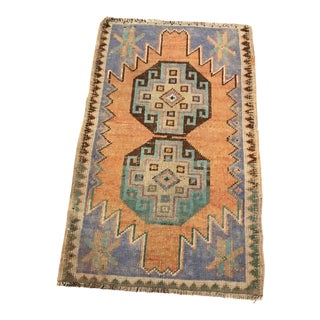 1940s Vintage Hand-Knotted Turkish Rug- 1′7″ × 2′5″ For Sale