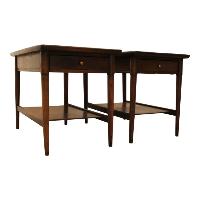 Mid-Century Danish Modern Walnut Side Tables - A Pair - Image 1 of 11