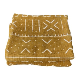 """African Bogolan Mud Cloth Mustard & White Textile 63"""" by 42"""" For Sale"""