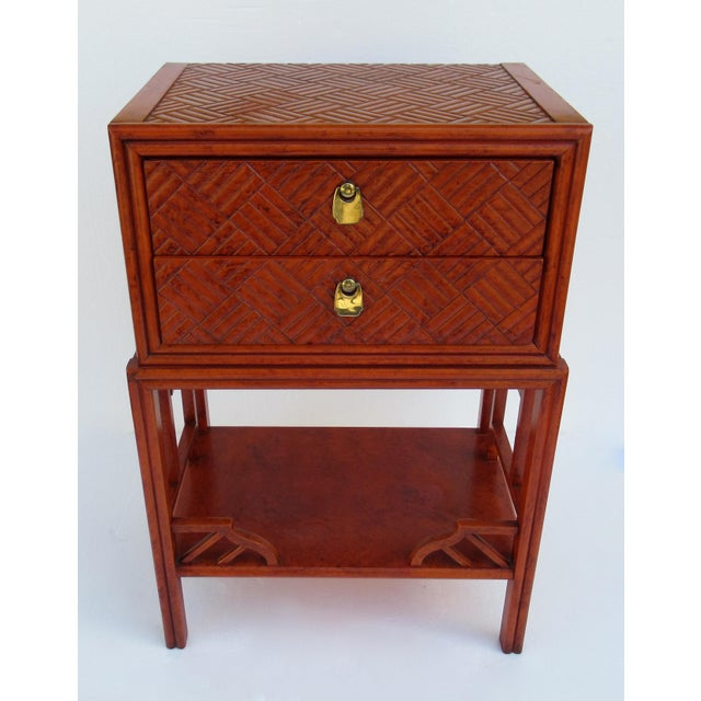 Asian C.1970s Vintage Chinoiserie Orange Lacquered Nightstand, Side/End Reading Table by Thomasville For Sale - Image 3 of 13