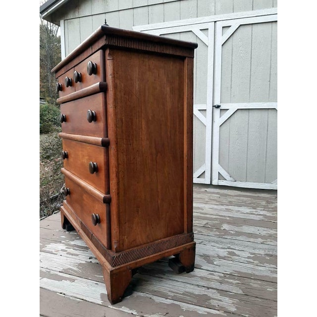 Rustic Late 1700's Early 1800's Antique Primitive Farmhouse Solid Chestnut Chest of 5 Drawers For Sale - Image 3 of 13