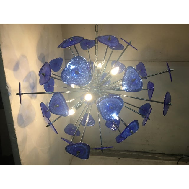 Contemporary Contemporary Blue Murano Glass Sputnik Chandelier For Sale - Image 3 of 12