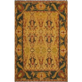Southwestern Semi-Antique Kargahi Chae Tan/Green Wool Rug - 6'0 X 6'8 For Sale
