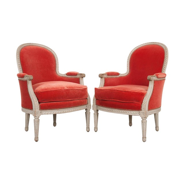 French 19th Century Louis XVI Style Bergères -A Pair For Sale - Image 12 of 12
