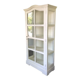 Swedish White Display Cabinet With Glass Door and Sides For Sale