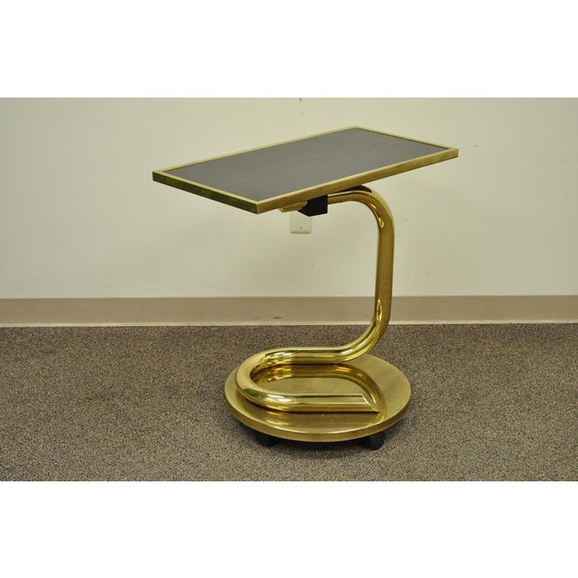 """Item: Vintage Sculptural Brass and Wood Rolling and Revolving """"Anaconda"""" Side Table Believed to be by Paul Tuttle Details:..."""