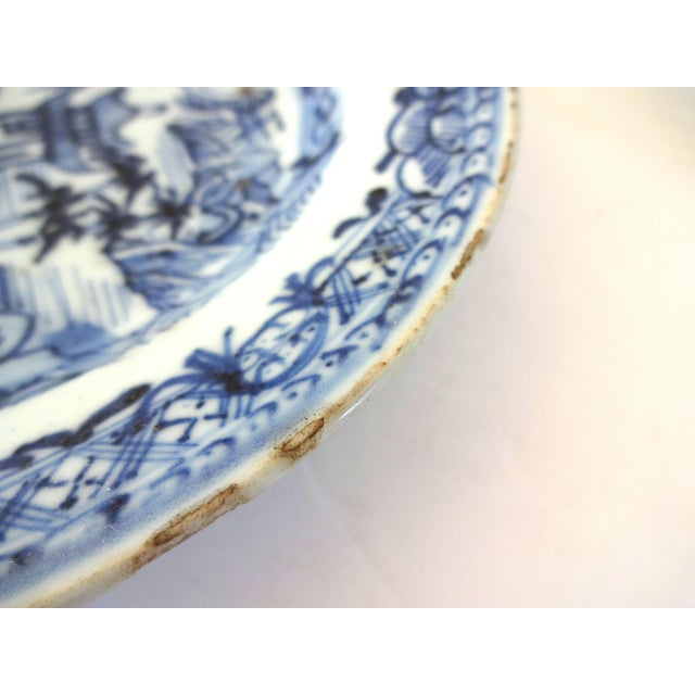 Blue Antique 18th-Centry Kangxi Chinese Export Porcelain Blue Underglaze and White Plates - a Pair For Sale - Image 8 of 12