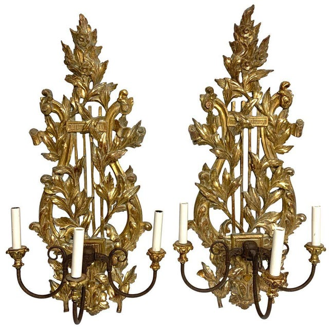Pair of French Carved Giltwood Lyre Motif Three Light Wall Sconces For Sale - Image 10 of 10