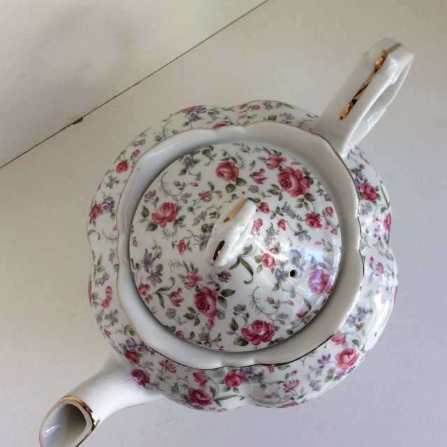 Vintage Rose Chintz Musical Tea Pot by Lefton For Sale - Image 11 of 13