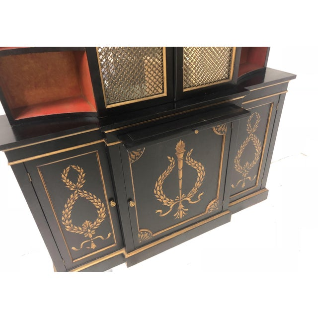Animal Skin Hollywood Regency Italian China or Library Cabinet For Sale - Image 7 of 9