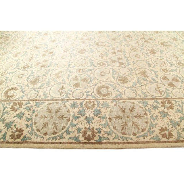 Traditional Ivory Floral Suzani Area Rug For Sale - Image 3 of 4