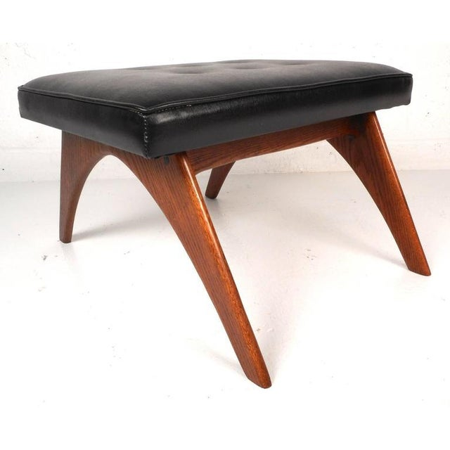 Mid-Century Modern Tufted Vinyl Lounge Chair and Ottoman - Image 7 of 10