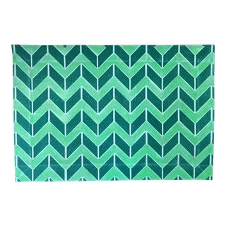 Vintage Green Chevron Floor Cloth - 2' x 3' For Sale