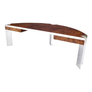 "'Mezzaluna"" Pace Collection Burl Wood and Stainless Steel Desk For Sale"