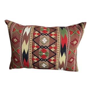 Vintage Hand-Made Embroidered Mexican Decorative Pillow Cover For Sale