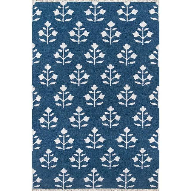 "Erin Gates Thompson Grove Navy Hand Woven Wool Area Rug 5' X 7'6"" For Sale"
