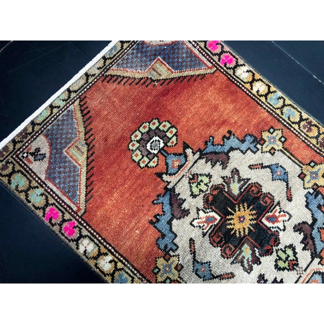 Traditional Vintage Boho Turkish Anatolian Handmade Multicolor Small Rug For Sale - Image 3 of 6