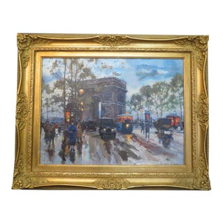 """""""The Triumph Arch"""" Paris Impressionist Inspired Street Scene Oil Painting For Sale"""