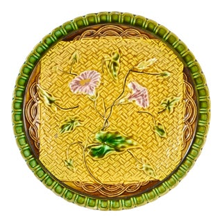 1880s Majolica Morning Glory Plate For Sale