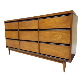 1963 Mid Century 9 Drawer Credenza For Sale