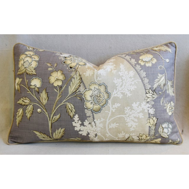 "Early 21st Century Floral Linen & Velvet Feather/Down Pillows 26"" X 16"" - Pair For Sale - Image 5 of 12"