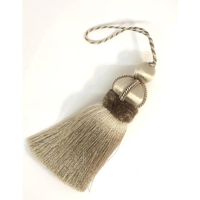 Beige Key Tassel With Cut Velvet Ruche For Sale - Image 10 of 10