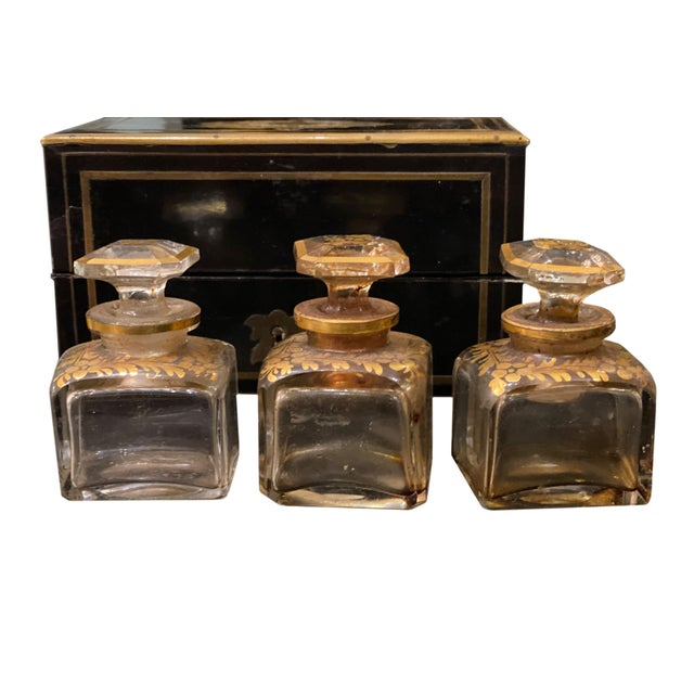 French Perfume Box With Three Gilt Painted Perfume Bottles - 4 Pieces For Sale - Image 3 of 10