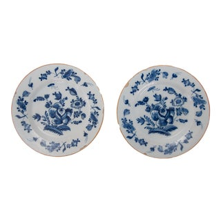Antique 18th-Century Delft Dutch Floral Plates - a Pair For Sale