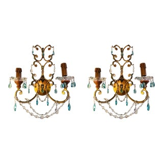 Neoclassical Italian Crystal Sconce, Handcrafted in Gilt Metal, a Pair For Sale