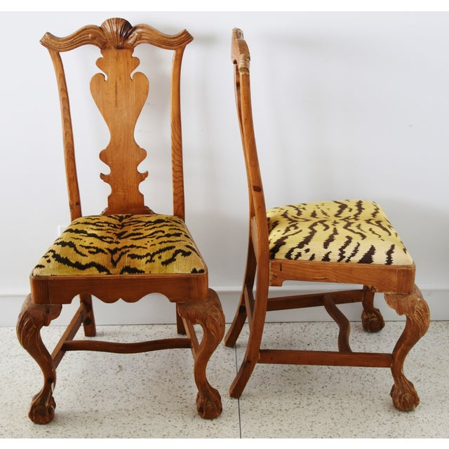 American Italian Scalamandre Le Tigre (Tiger) Velvet Side Chairs - Pair For Sale - Image 3 of 13