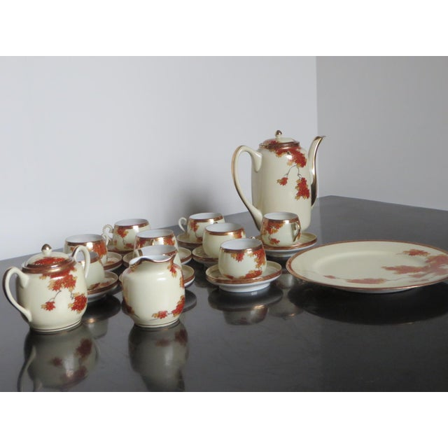 Vintage Chinese Porcelain Espresso Cups & Saucers, Coffee Pot, Creamer, Sugar Bowl & Dessert Plate - Service for 9 - Image 4 of 10