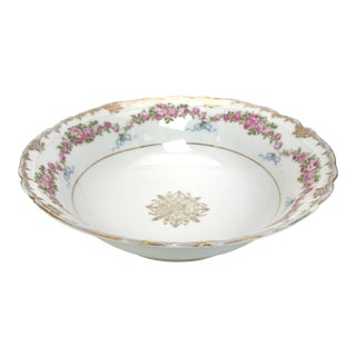 Antique Rose and Ribbons Porcelain Bowl For Sale