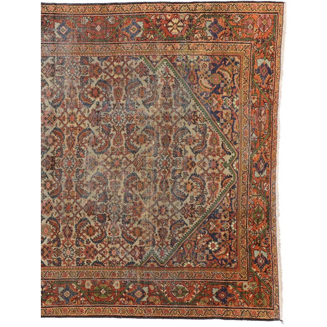 Industrial Distressed Antique Persian Mahal Rug with Modern Industrial Style For Sale - Image 3 of 5