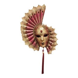 Venetian Laboratory - Red Venetian Fan Mask For Sale