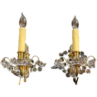 French Bronze and Crystal Single Light Wall Sconces - a Pair