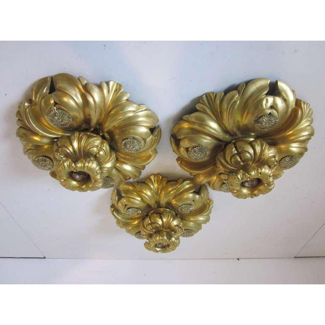 Bronze E.F.Caldwell Art Nouveau Styled Gold Gilded Light Fixture For Sale - Image 7 of 8