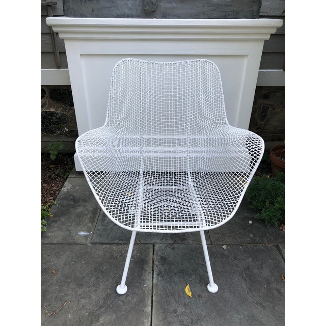 """1950s Woodard """"Sculptura"""" White Patio Chairs - a Pair For Sale - Image 9 of 14"""