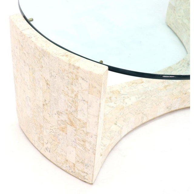 1970s Tessellated Stone Veneer Tile Organic Kidney Shape Coffee Center Table For Sale - Image 5 of 13