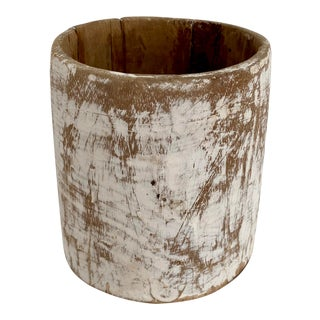 1940s Rustic Style White Washed Wood Honey Pot For Sale