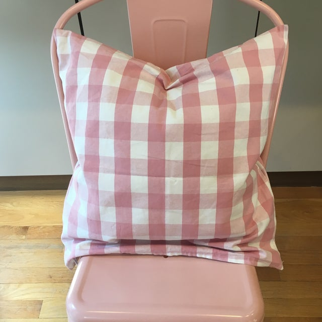 Handmade, cotton pillow cover with hidden zipper. On trend gingham and blushy pink! *Please note this listing is for the...